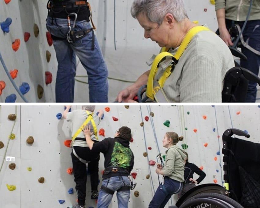 Trotz Handicap klettern