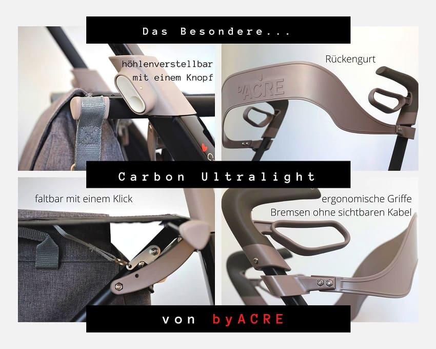 Rückengurt, Bremsen, höhenverstellbar Carbon Ultralight